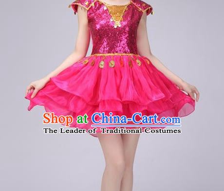 Top Grade Stage Performance Costume Chorus Modern Dance Rosy Bubble Dress for Women