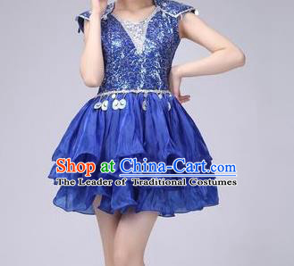 Top Grade Stage Performance Costume Chorus Modern Dance Royalblue Bubble Dress for Women