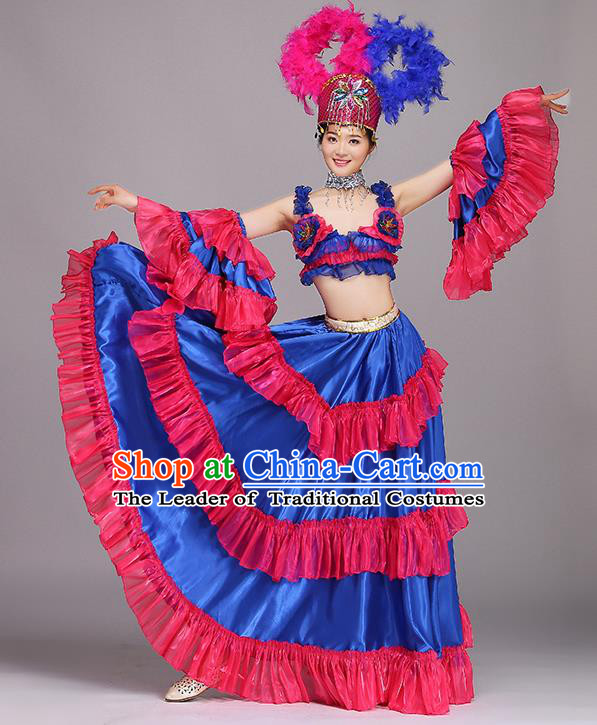 Top Grade Stage Performance Costume Chorus Modern Dance Blue Dress and Headpiece for Women
