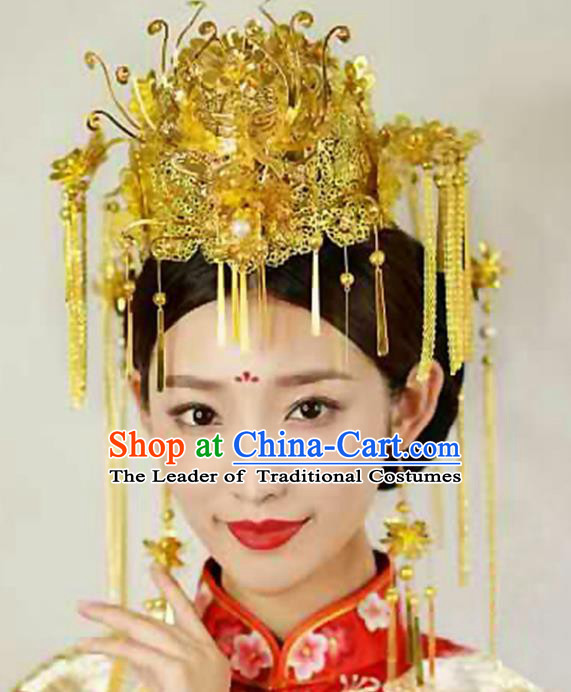Chinese Traditional Handmade Phoenix Coronet Wedding Hair Accessories Ancient Hairpins Complete Set for Women