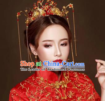 Chinese Traditional Hair Accessories Bride Xiuhe Suit Tassel Phoenix Coronet Ancient Hairpins Complete Set for Women