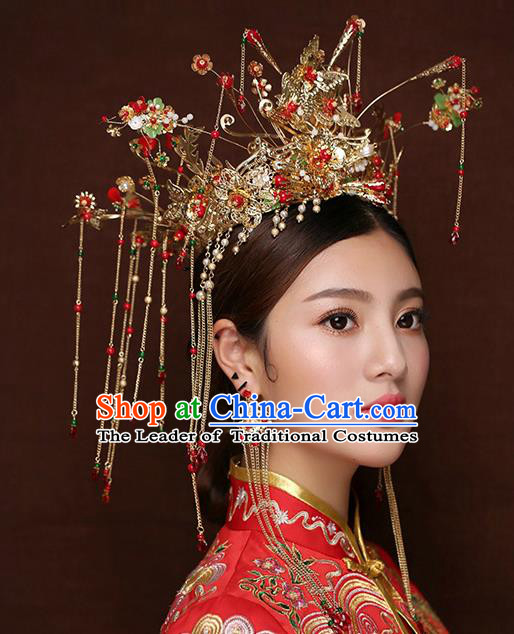 Chinese Traditional Handmade Hair Accessories Xiuhe Suit Phoenix Coronet Ancient Hairpins Step Shake for Women