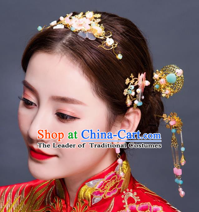 Chinese Traditional Handmade Hair Accessories Ancient Hairpins Xiuhe Suit Hair Clips Complete Set for Women