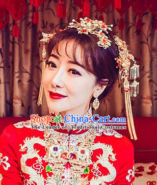 Chinese Traditional Wedding Hair Clips Xiuhe Suit Hair Accessories Ancient Hairpins Complete Set for Women