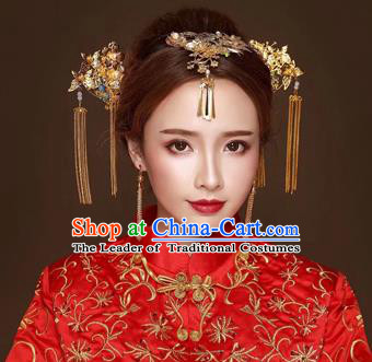 Chinese Traditional Handmade Hair Accessories Bride Xiuhe Suit Hairpin Ancient Hairpins Complete Set for Women