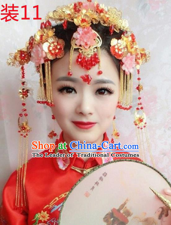 Chinese Traditional Wedding Xiuhe Suit Hair Accessories Tassel Step Shake Ancient Hairpins Complete Set for Women