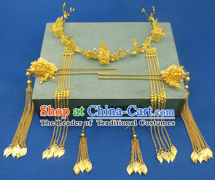 Chinese Traditional Xiuhe Suit Hair Accessories Golden Hair Clasp Ancient Bride Tassel Hairpins for Women
