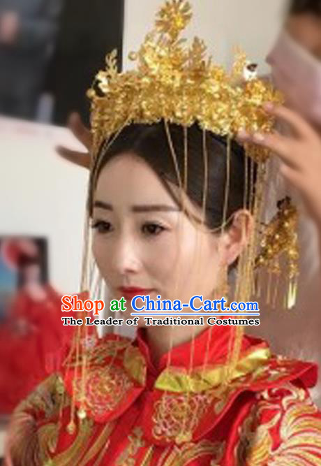 Chinese Traditional Hair Accessories Ancient Xiuhe Suit Golden Phoenix Coronet Hairpins Complete Set for Women
