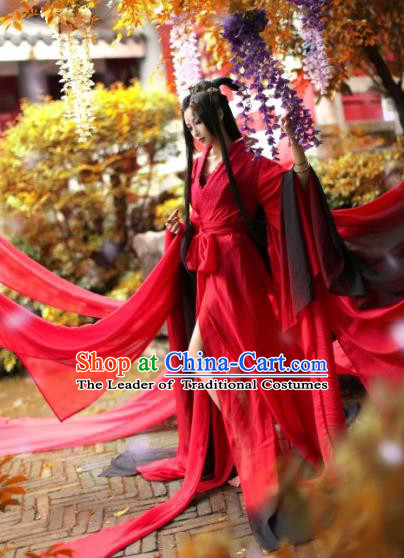 Chinese Ancient Cosplay Swordswoman Costume Jin Dynasty Female Knight Red Hanfu Dress for Women