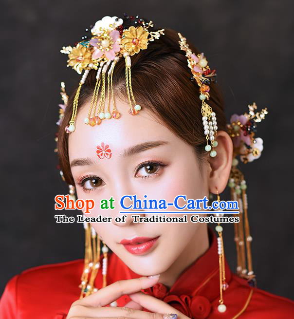 Chinese Traditional Handmade Hair Accessories Ancient Flowers Tassel Hairpins Complete Set for Women