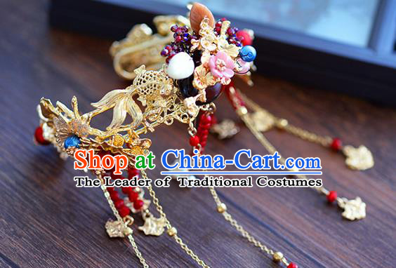 Chinese Handmade Jewelry Accessories Ancient Palace Tassel Bracelet Hanfu Goldfish Bangle for Women