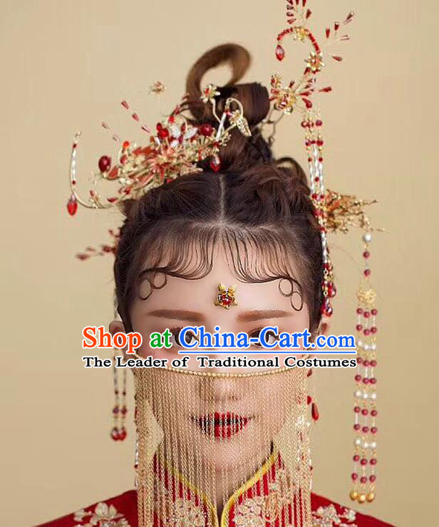 Chinese Ancient Handmade Phoenix Coronet Hair Accessories Complete Set Traditional Xiuhe Suit Tassel Hairpins for Women