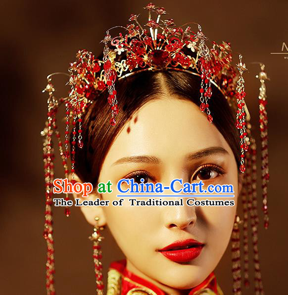 Chinese Ancient Handmade Red Crystal Phoenix Coronet Hair Accessories Traditional Xiuhe Suit Hairpins for Women