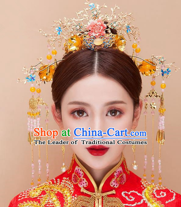 Chinese Ancient Handmade Xiuhe Suit Phoenix Coronet Traditional Tassel Hairpins Hair Accessories Complete Set for Women