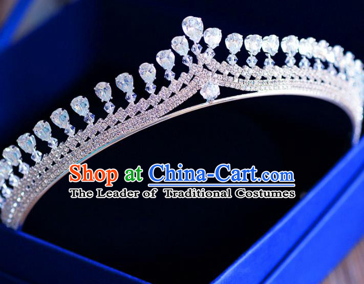 Top Grade Handmade Baroque Zircon Royal Crown Bride Zircon Hair Imperial Crown for Women