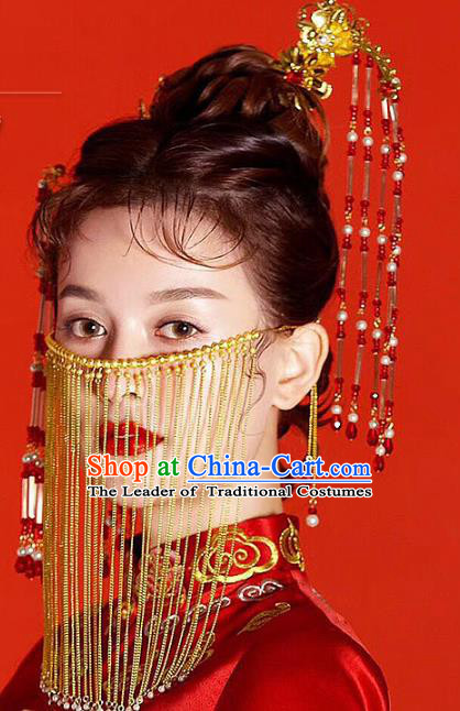Chinese Ancient Handmade Xiuhe Suit Tassel Step Shake Traditional Hairpins Hair Accessories Complete Set for Women