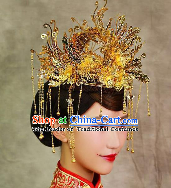 Chinese Ancient Handmade Xiuhe Suit Golden Phoenix Coronet Traditional Hairpins Hair Accessories for Women
