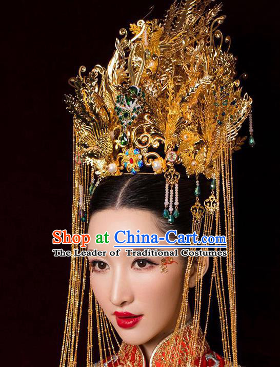 Chinese Ancient Handmade Palace Luxurious Phoenix Coronet Traditional Hair Accessories Xiuhe Suit Hairpins for Women