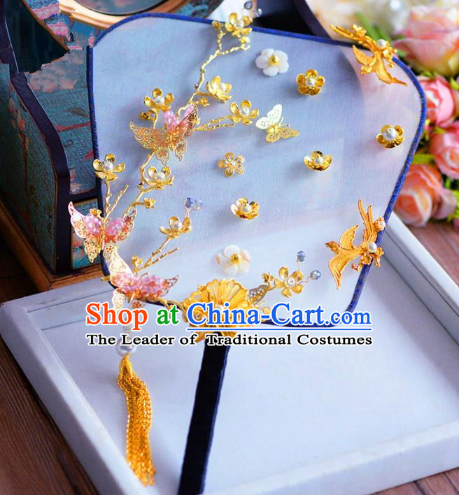 Chinese Handmade Wedding Accessories Golden Butterfly Palace Fans Hanfu Round Fans for Women