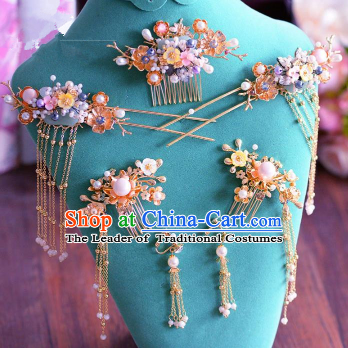Chinese Ancient Handmade Palace Pearls Hair Comb Hair Accessories Traditional Hairpins Complete Set for Women