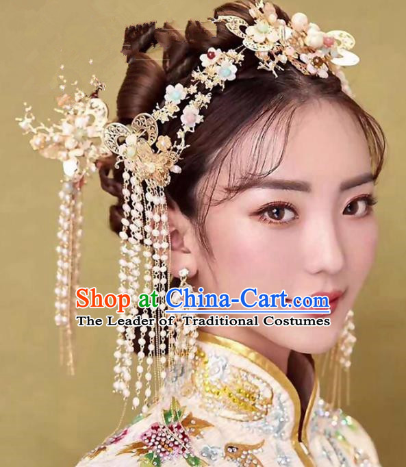 Chinese Ancient Handmade Palace Hair Accessories Beads Tassel Hair Clips Traditional Hairpins Complete Set for Women