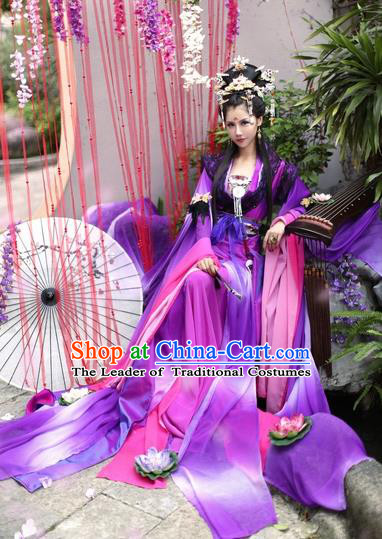 Chinese Ancient Cosplay Fairy Purple Hanfu Dress Tang Dynasty Imperial Concubine Costumes for Women