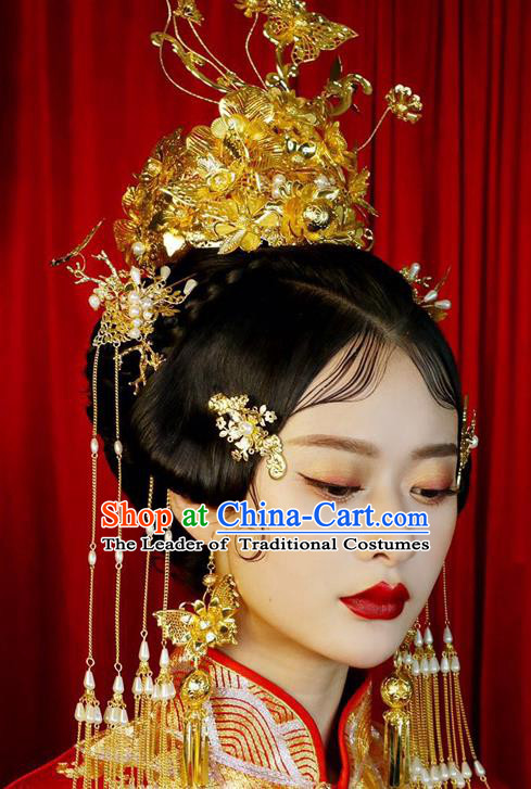 Chinese Ancient Handmade Palace Traditional Phoenix Coronet Hair Accessories Xiuhe Suit Hairpins Complete Set for Women
