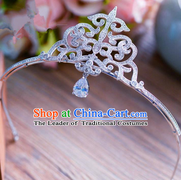 Top Grade Handmade Baroque Zircon Hair Accessories Princess Tassel Royal Crown Headwear for Women