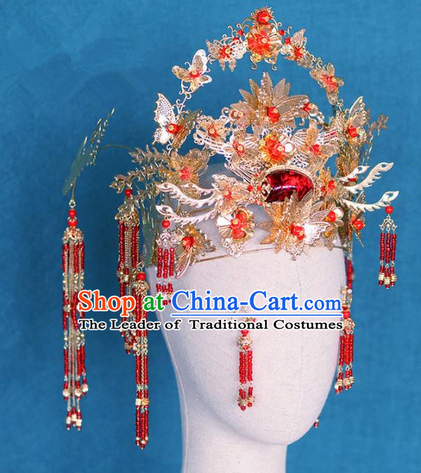 Ancient Chinese Handmade Red Crystal Phoenix Coronet Traditional Hair Accessories Xiuhe Suit Hairpins for Women