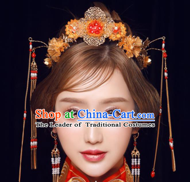 Ancient Chinese Handmade Tassel Phoenix Coronet Traditional Hair Accessories Xiuhe Suit Hairpins for Women