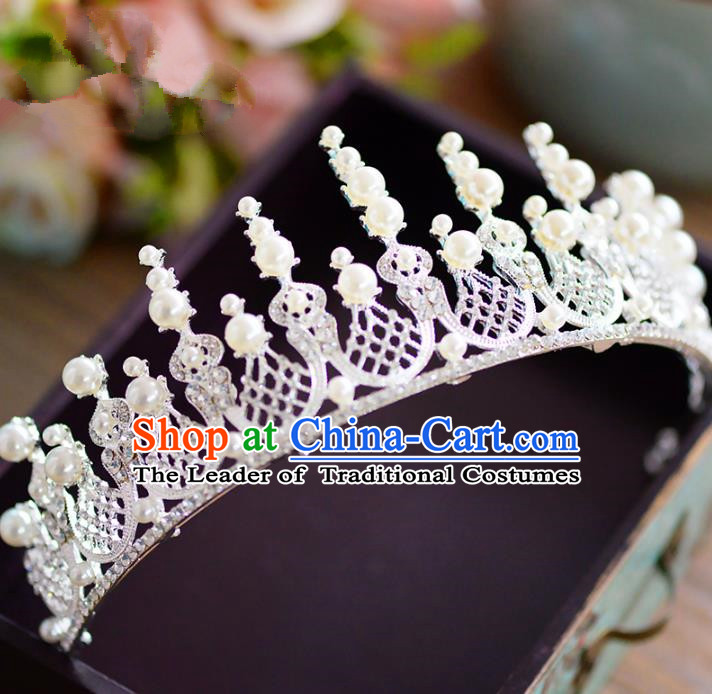 Top Grade Handmade Baroque Hair Accessories Princess Pearls Royal Crown Headwear for Women