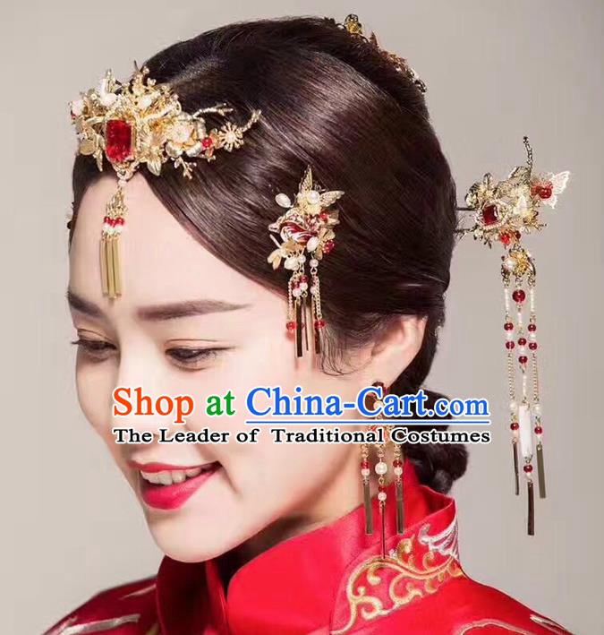 Ancient Chinese Handmade Traditional Hair Accessories Pearls Hair Clips Xiuhe Suit Hairpins for Women