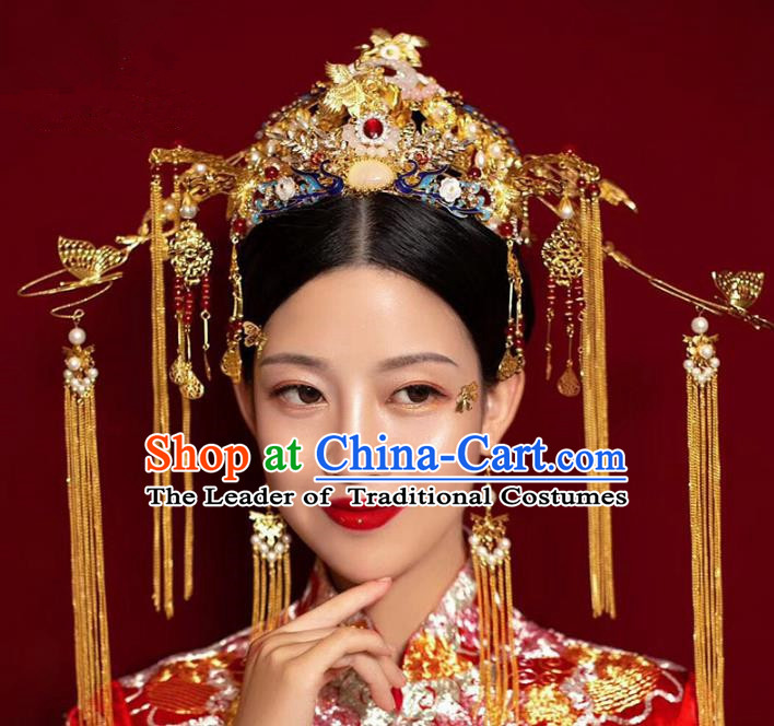 Ancient Chinese Handmade Hair Accessories Xiuhe Suit Bride Phoenix Coronet Hairpins Complete Set for Women