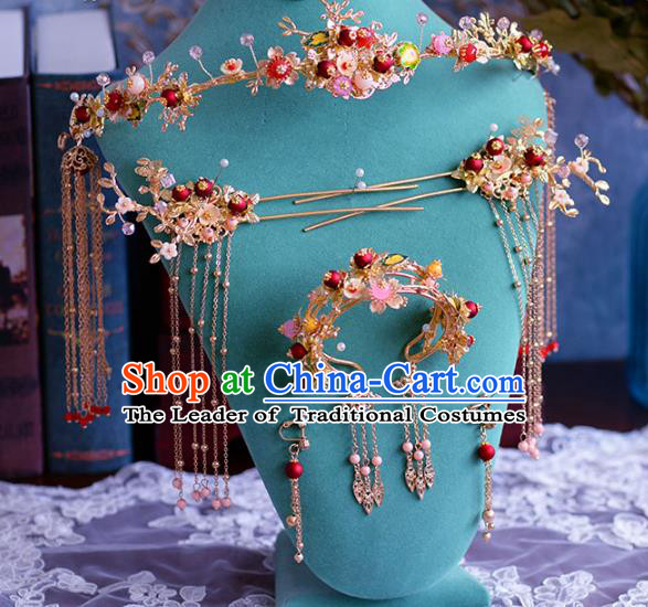 Ancient Chinese Handmade Hair Accessories Xiuhe Suit Hairpins Hair Clasp Complete Set for Women