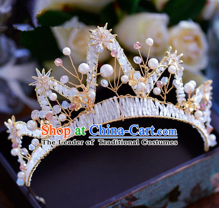 Top Grade Handmade Hair Accessories Baroque Princess Beads Royal Crown Headwear for Women