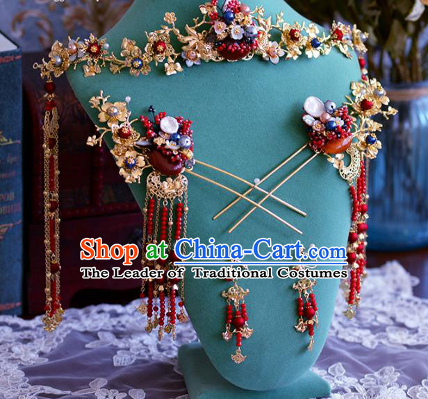 Ancient Chinese Handmade Traditional Hair Accessories Phoenix Coronet Hairpins Complete Set for Women
