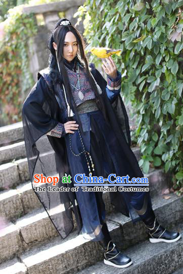Chinese Ancient Knight-Errant Costume Tang Dynasty Young Swordsman Clothing for Men