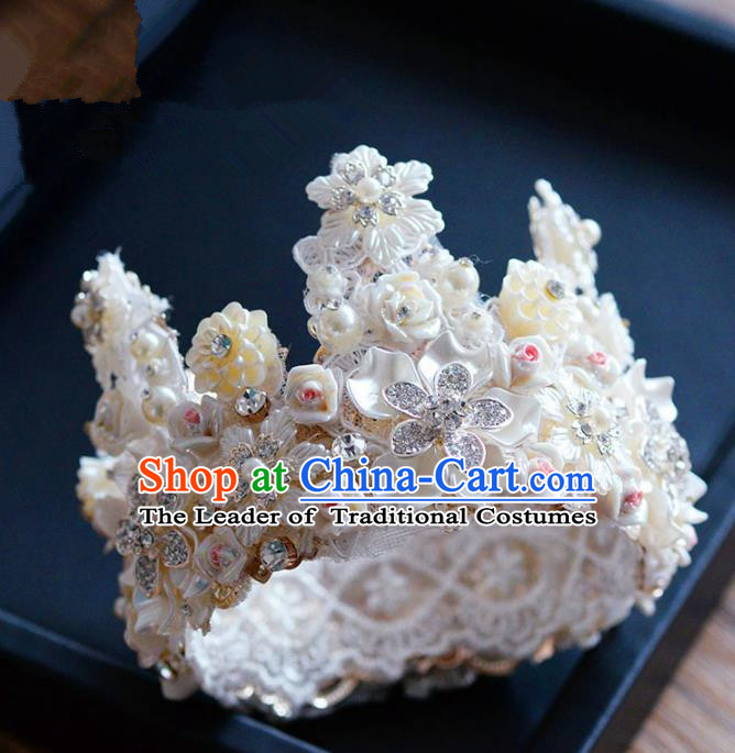 Top Grade Handmade Hair Accessories Baroque Silk Flowers Pearls Royal Crown Headwear for Women