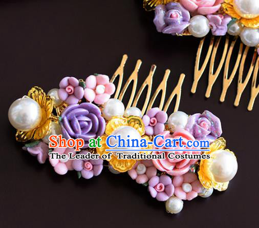 Handmade Wedding Hair Accessories Purple Flowers Hair Comb for Women