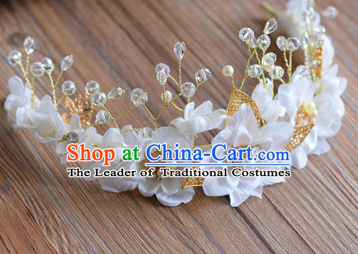 Top Grade Handmade Hair Accessories Baroque White Flowers Garland Royal Crown Headwear for Women