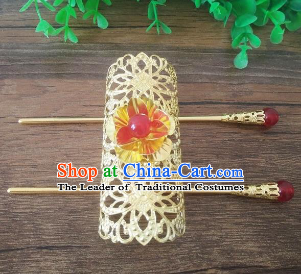 Handmade China Ancient Nobility Childe Hair Accessories Swordsman Golden Hairdo Crown for Men