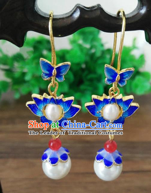 Chinese Handmade Accessories Hanfu Cloisonne Lotus Eardrop Ancient Tassel Earrings for Women