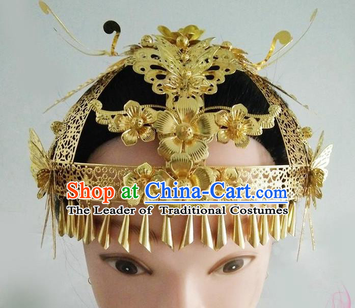 Ancient Chinese Handmade Golden Phoenix Coronet Hair Accessories Classical Palace Queen Hairpins Headwear for Women