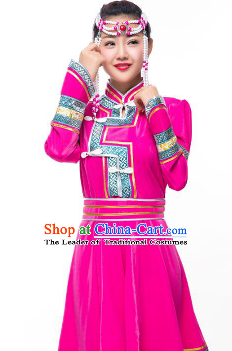Chinese Traditional Female Ethnic Costume, Mongolian Minority Folk Dance Rosy Dress for Women