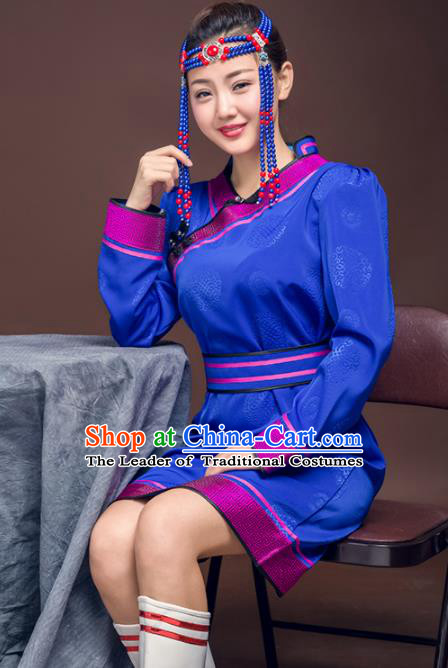 Chinese Traditional Female Ethnic Costume, China Mongolian Minority Folk Dance Royalblue Dress for Women
