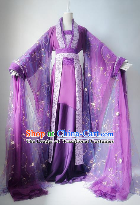 Chinese Ancient Cosplay Imperial Consort Costume Tang Dynasty Nobility Lady Purple Hanfu Dress for Women