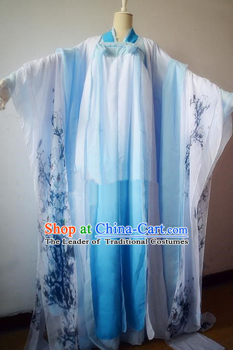 Chinese Ancient Cosplay Court Maid Costume Traditional Tang Dynasty Princess Blue Hanfu Dress for Women