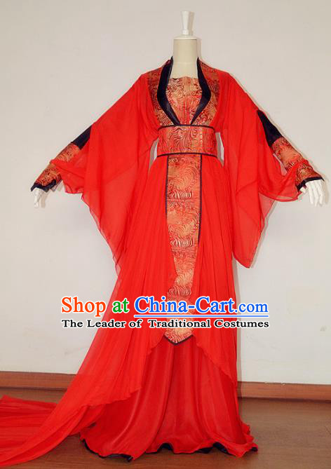 Chinese Ancient Cosplay Fairy Red Costume Tang Dynasty Imperial Consort Hanfu Dress for Women