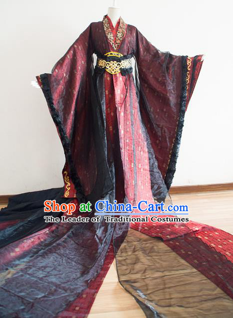 Chinese Ancient Cosplay Prince Embroidered Costume Qin Dynasty Swordsman Clothing for Men