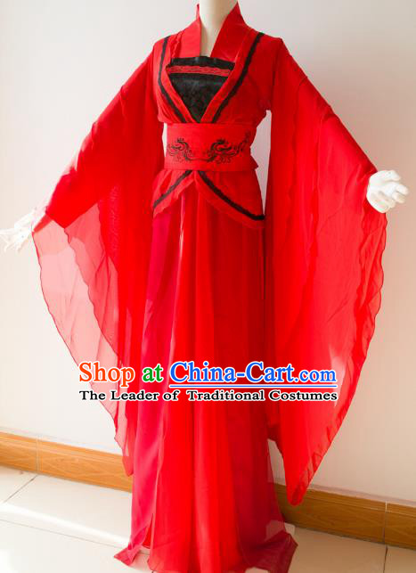 Chinese Traditional Han Dynasty Imperial Consort Red Hanfu Dress Ancient Cosplay Palace Lady Costume for Women
